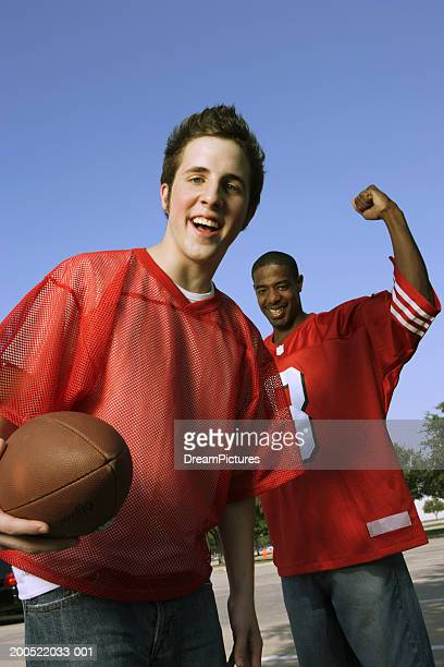 Young men wearing red jerseys before game