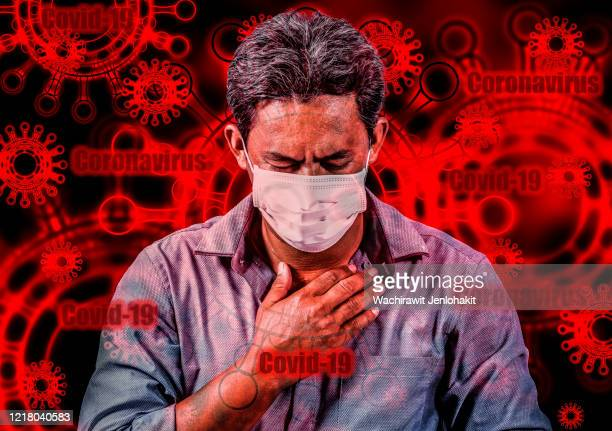 young men with chest pain, which is a side effect of the viral-19 virus infection that damages the lungs is fatal. the concept of danger from the covid-19 virus infection. - borrelia bildbanksfoton och bilder