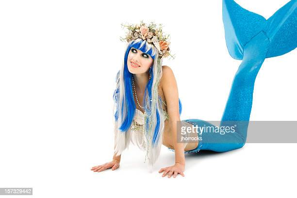 Young Mermaid on White