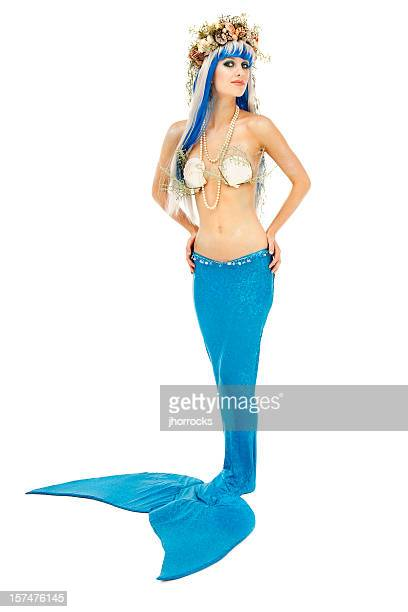 young mermaid on white - mermaid stock photos and pictures