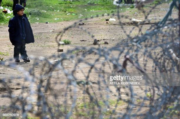 A young migrant boy waits in front of the Hungarian border fence at the Tompa border station transit zone on April 6 2017 as the Hungarian Interior...