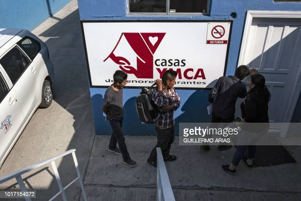 Young migrants arrive at the 'Casas YMCA' shelter for migrant minors in Tijuana Baja California state Mexico on August 10 2018