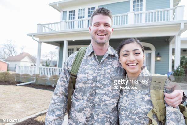 young military couple - military spouse stock pictures, royalty-free photos & images
