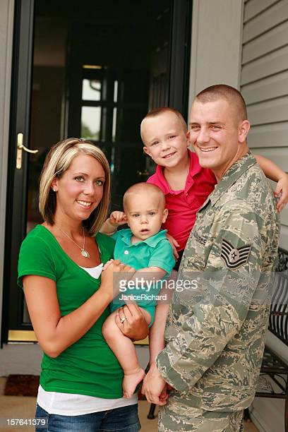 a young military family with two boys - air force stock pictures, royalty-free photos & images