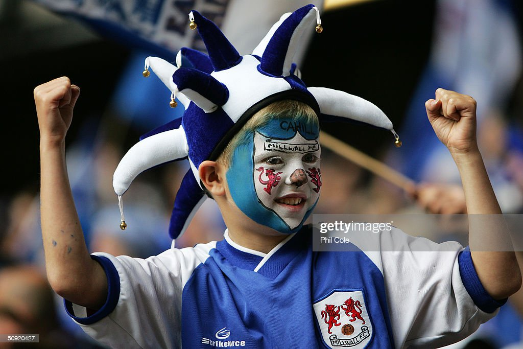 A young Millwall fan during the 123rd FA Cup Final between Manchester United and Millwall at The Millennium Stadium on May 22, 2004 in Cardiff, Wales.
