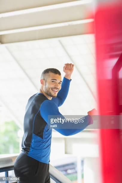 young mixed race man exercising - handsome native american men stock pictures, royalty-free photos & images