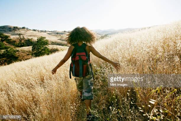 young mixed race woman with curly brown hair hiking in urban park. - afro amerikaanse etniciteit stockfoto's en -beelden