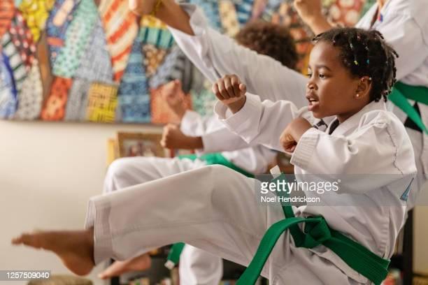 Young mixed-race girl performs taekwondo kick