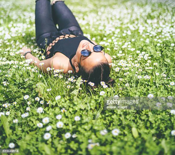 young modern woman enjoying in sunny day