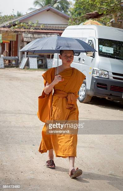 Young monk with umbrella