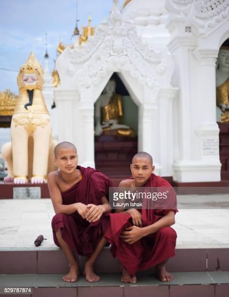 Young monks at Shwedagon Pagoda, Yangon, Myanmar