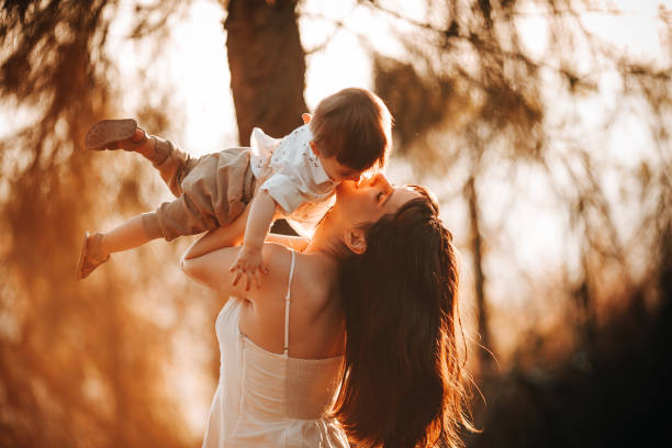 Young mother and child having a beautiful time together in the park,Belo Horizonte,State of Minas Gerais,Brazil
