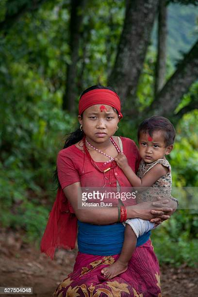 A young mother at a gathering high up in the mountains The Chepangs is an ethnic group which used to be nomadic Only recently have the settled and...