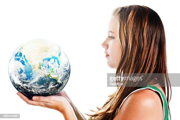 Young Mother Earth cares for the World