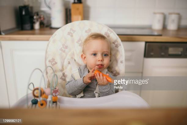 young mother is feeding her baby - wohnraum stock pictures, royalty-free photos & images