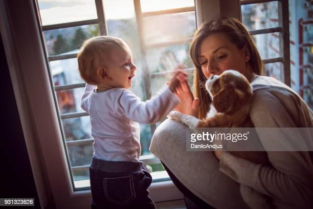 jovem mãe brincando com seus dois bebês - cão fraldeiro - fotografias e filmes do acervo