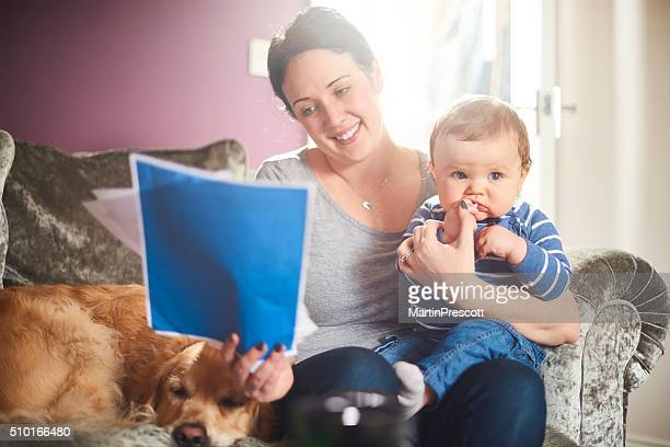 young mother reading her life insurance policy