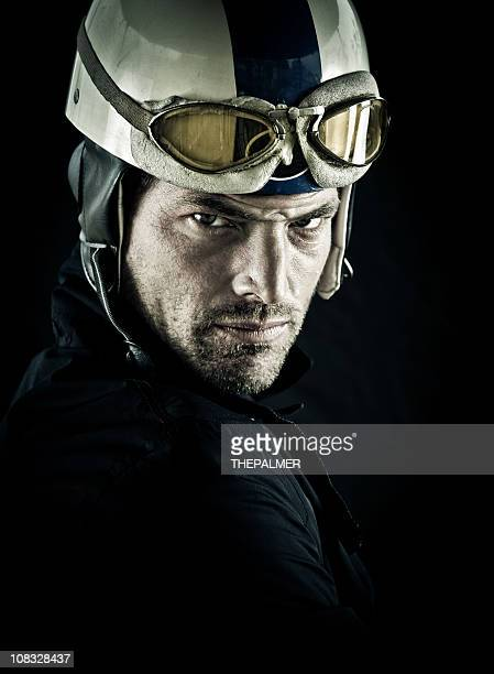 young motorcyclist with vintage helmet