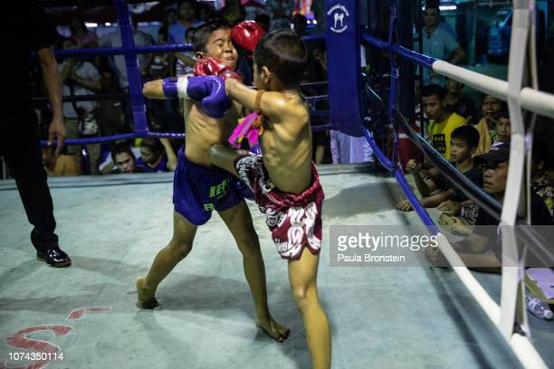 Young Muay Thai boxers fight each other during a Muay Thai boxing competition on December 7 2018 in Lopburi Thailand A professional child boxer in...
