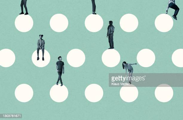 young multi-ethnic friends on white circles - diversity stock pictures, royalty-free photos & images