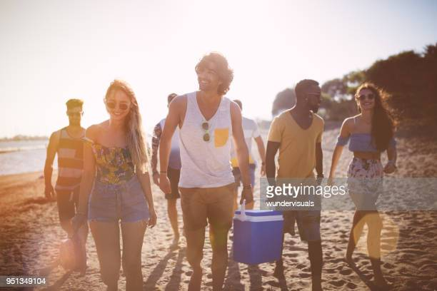 young multi-ethnic hipster friends with cooler box on the beach - esky stock photos and pictures