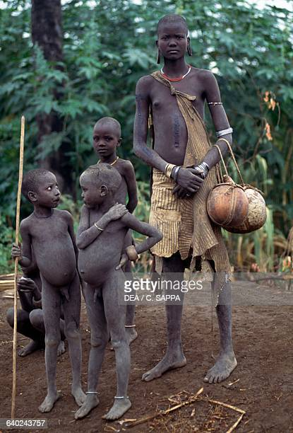 Young Mursi children Mago National Park Ethiopia