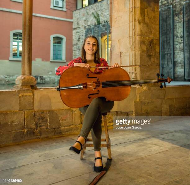 young musician with her cello - soloist stock photos and pictures