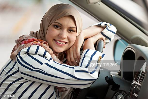 young muslim female driver - iranian culture stock photos and pictures