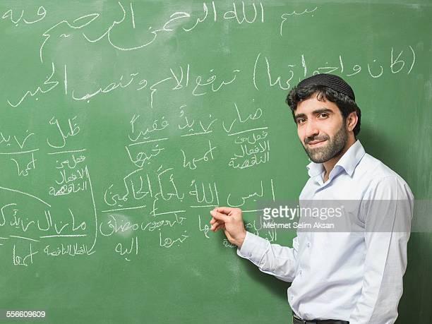 Young Muslim Teacher In Front Of Blackboard