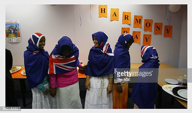 Young Muslim woman made hijabs out of Australian flags to make 'Harmony Day' which they wore during a lunch at the Resource Centre's Spectrum...