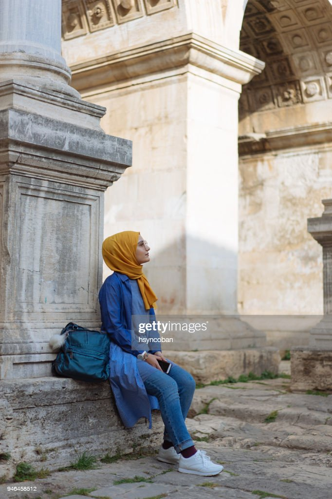 Young muslim woman traveller in Kaleici (old town of Antalya) : Stock Photo