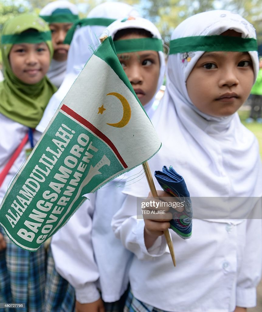 Young Muslims Hold A Moro Islamic Liberation Front Milf Miniature