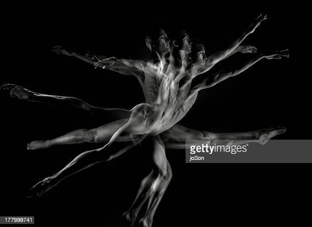Young naked dander in motion (multiple exposure)