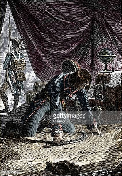 Young Napoleon Bonaparte studying a map before the siege of Toulon december 1793 Engraving 19th century Private collection