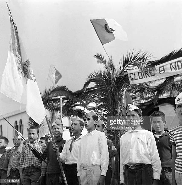 Young nationalist Algerian scouts singing patriotic songs in Algiers on the eve of Algeria's independence on June 30 1962