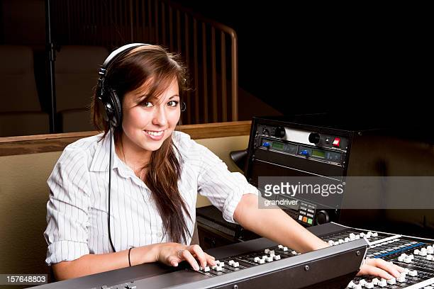 Young Native American Woman at a Recording Console