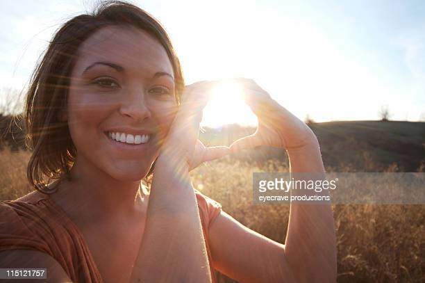 young native american woman solar sunset energy