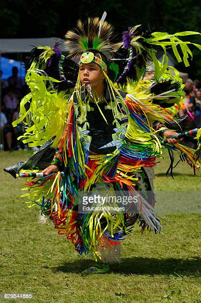 Young Native Indian Fancy Dancer dancing at the Grand River Pow Wow in Canada