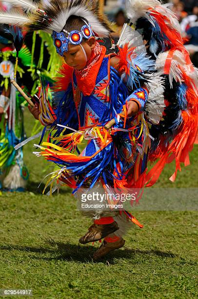 Young Native Indian Fancy Dancer in tiny tots competition at a Grand River Pow Wow
