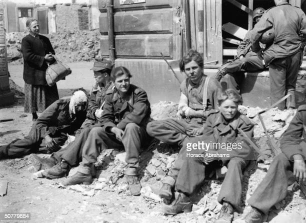 Young Nazis captured in Nuremberg by Allied troops 21st April 1945 The youngest is twelve years old and one has sustained a bullet wound to the jaw