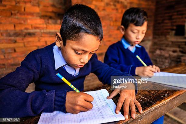 Young Nepali boys in classroom, Bhaktapur