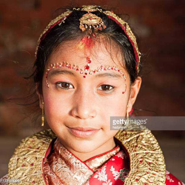 Young Nepali girl in traditional dress, Bhaktapur