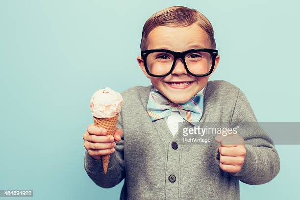 young nerd boy with ice cream cone - ice cream stock pictures, royalty-free photos & images
