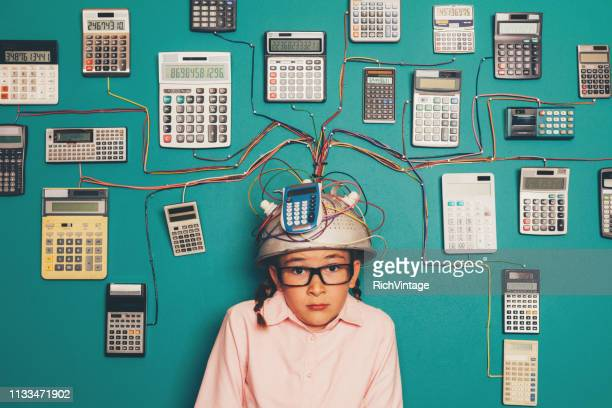 young nerd girl anxious with calculator invention - massage funny stock pictures, royalty-free photos & images