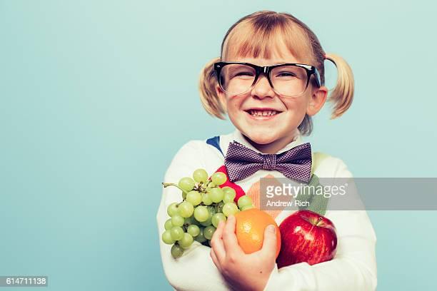 Young Nerd Girl Loves Eating Fruit