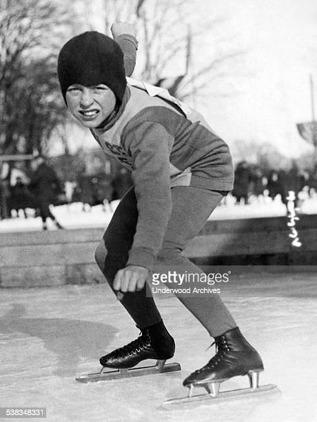 Young New York speed skater Raymond Murray at the National Speed Championships where he won third place in the junior events division Plattsburg New...