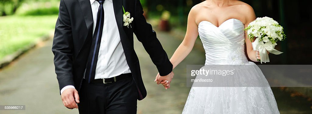 Young newlywed caucasian couple together. : Stock Photo
