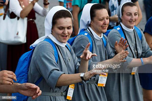 Young nuns celebrate at the market square on July 25 2016 in Krakow Poland Catholic youths are traveling to Poland for the official opening of the...