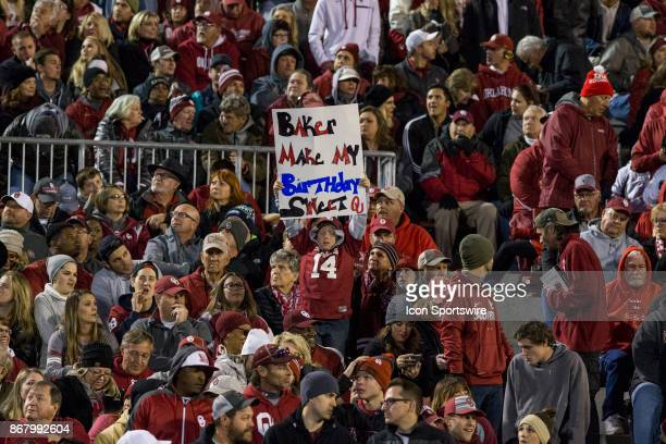 Young Oklahoma Sooners fan celebrates his birthday during the Oklahoma Sooners and the Texas Tech Red Raiders game on October 28 2017 at Memorial...