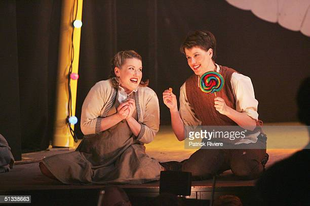 Young opera singers Penelope Mills and Siam Pendry perform during a dress rehearsal of Engelbert Humperdinck's Hansel and Gretel at the Independent...